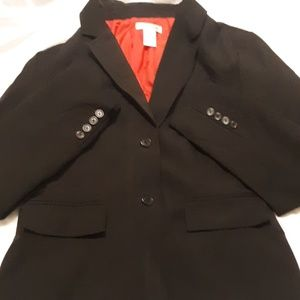 Isaac Mizrahi Black ,lined in red, 2 button blazer